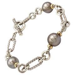 David Yurman Sterling Silver & 18 Karat Gold Tahitian Pearl Figaro Link Bracelet