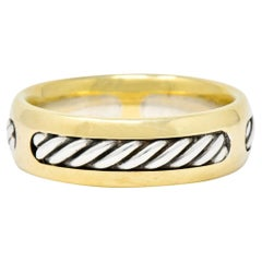 David Yurman Sterling Silver 18 Karat Two-Tone Gold Men's Band Ring