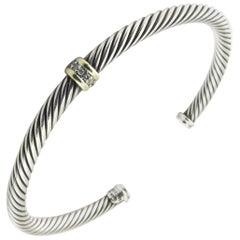 David Yurman Sterling Silver 18 Karat Yellow Gold Diamond Cuff Cable Bracelet