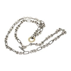 David Yurman Sterling Silver 18K Gold Cable Link Figaro Chain Necklace Long 32""