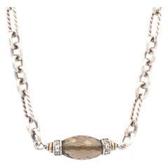 David Yurman Sterling Silver & 18K Yellow Gold Smoky Quartz & Diamond Necklace