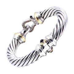 David Yurman Sterling Silver/18KYGold Diamond Thoroughbred Cable Buckle Bracelet