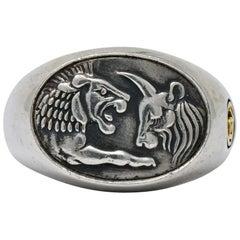 David Yurman Sterling Silver 22 Karat Gold Petrvs Ox and Lion Men's Signet Ring