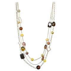 David Yurman Sterling Silver 3 Strand Chain Necklace W/ 18K Gold Beads/Quartz