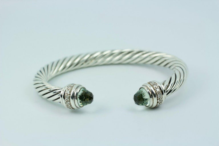 .925 SS  David Yurman Classic Prasiolite And Diamond  Bracelet   43.2 Grams   Size Small  This exact bangle is still on the Yurman website. It is available for $1600. Here is your chance to own it at 50% of retail! If you have any questions or
