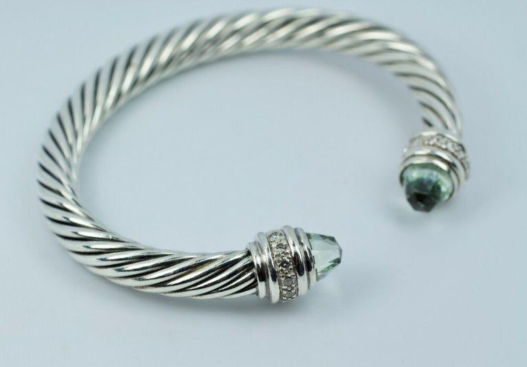 Modern David Yurman Sterling Silver Cable Bracelet with Diamonds and Prasiolite For Sale
