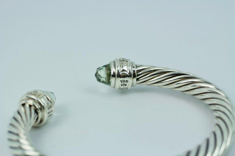 David Yurman Sterling Silver Cable Bracelet with Diamonds and Prasiolite In Good Condition For Sale In Montgomery, AL
