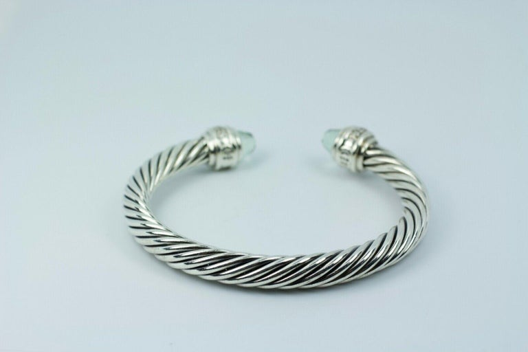 Women's or Men's David Yurman Sterling Silver Cable Bracelet with Diamonds and Prasiolite For Sale