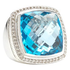 David Yurman Sterling Silver Albion Ring with Blue Topaz and Diamonds