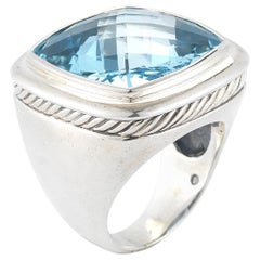 David Yurman Sterling Silver Albion Ring with Blue Topaz