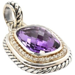 David Yurman Sterling Silver Amethyst and Diamond Pendant from Albion Collection