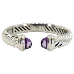 David Yurman Sterling Silver & Amethyst Hinged Cuff Bracelet