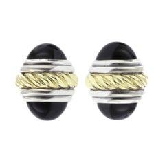 David Yurman Sterling Silver and 14 Karat Gold Black Onyx Bullet Cufflinks