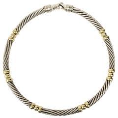 David Yurman Sterling Silver and 14 Karat Gold Cable Choker Necklace