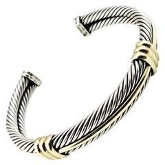 David Yurman Sterling Silver and 14 Karat Yellow Gold Cable Cuff Bracelet