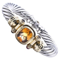 David Yurman Sterling Silver and 14 Karat Yellow Gold Citrine Cable Bracelet