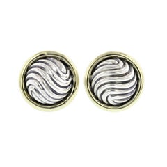 David Yurman Sterling Silver and 14 Karat Yellow Gold Domed Cable Cufflinks