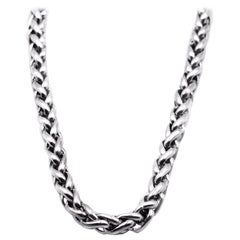 David Yurman Sterling Silver and 14 Karat Yellow Gold Wheat Chain