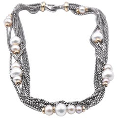 David Yurman Sterling Silver and 18 Karat Gold Pearl Eight-Row Chain Necklace