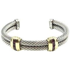 David Yurman Sterling Silver and 18 Karat Gold Pink Tourmaline Cable Bangle
