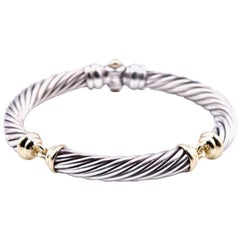David Yurman Sterling Silver and 18k Yellow Gold Cable 3 Station Bangle Bracelet