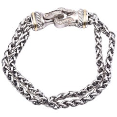 David Yurman Sterling Silver and 18k Gold Double Wheat Diamond Buckle Bracelet
