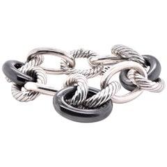 David Yurman Sterling Silver and Black Ceramic Oval Link Bracelet