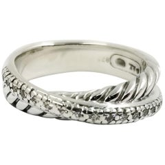 David Yurman Sterling Silver and Diamond Crossover Ring Band
