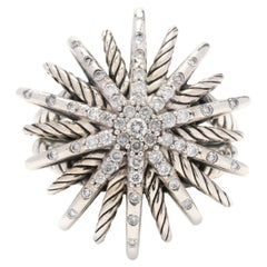 David Yurman Sterling Silver and Diamond Starburst Ring