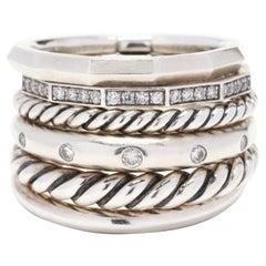 David Yurman Sterling Silver and Diamond Stax Wide Multi Band Ring