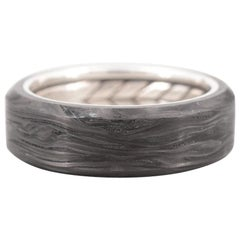 David Yurman Sterling Silver and Forged Carbon Band with Beveled Edge