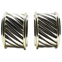 David Yurman Sterling Silver and Gold Cigar Band Wide Cable Huggie Earrings
