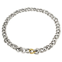 David Yurman Sterling Silver and Gold Curb Link Necklace