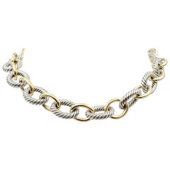 David Yurman Sterling Silver and Yellow Gold Oval Link Necklace