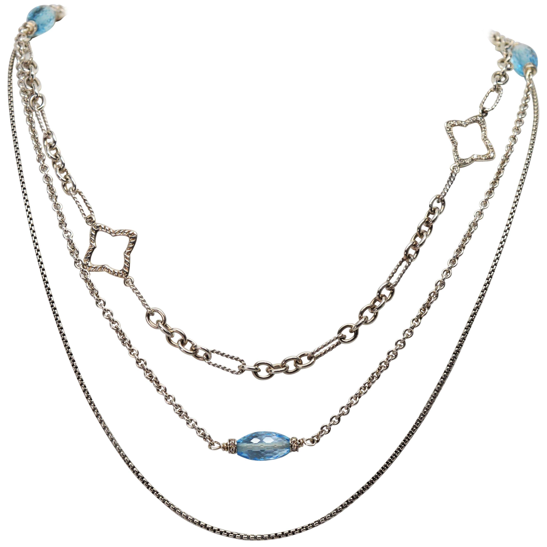 David Yurman Sterling Silver Bijoux Blue Topaz Quatrefoil Multi Chain Necklace