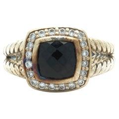 David Yurman Sterling Silver Black Onyx and Diamond Cable Ring