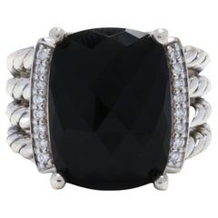 David Yurman Sterling Silver Black Onyx & Diamond Wheaton Ring
