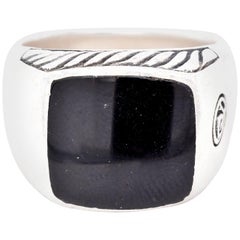 David Yurman Sterling Silver Black Onyx Ring