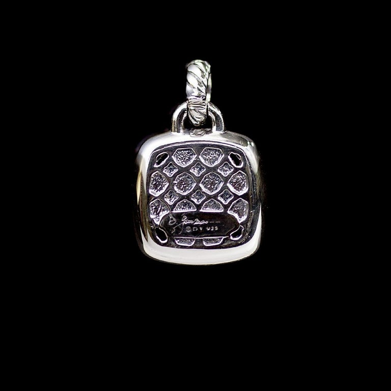 Cushion Cut David Yurman Sterling Silver Black Orchid and Diamond Albion Pendant Enhancer For Sale