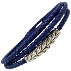 David Yurman Sterling Silver and Blue Leather Wrap Bracelet