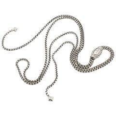 David Yurman Sterling Silver Box Chain Adjustable Slide Necklace