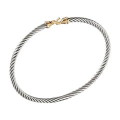 David Yurman Sterling Silver Buckle Bangle Bracelet with Gold B09543 S8