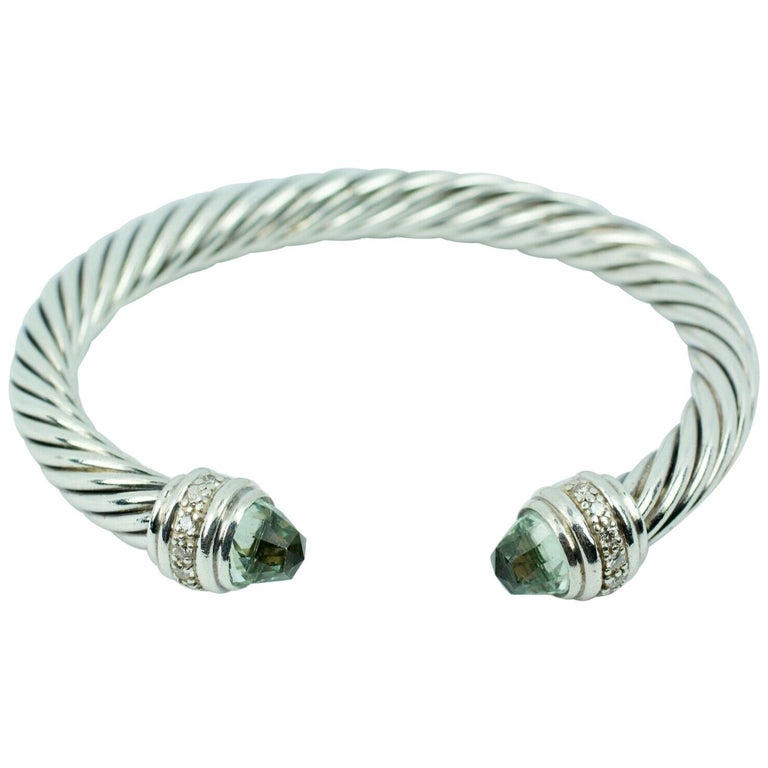 David Yurman Sterling Silver Cable Bracelet with Diamonds and Prasiolite For Sale