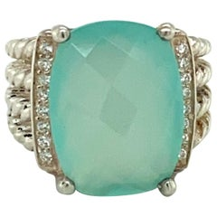 David Yurman Sterling Silver Chalcedony and Diamond 4-Cable Wheaton Cable Ring
