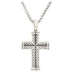 David Yurman Sterling Silver Chevron Cable Cross Necklace