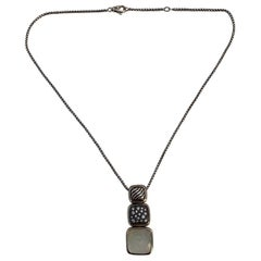 David Yurman Sterling Silver Chicklet Necklace with Diamond and MOP Pendants
