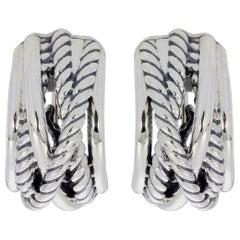 David Yurman Sterling Silver Cuff Earrings