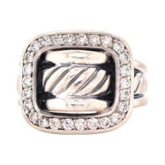 David Yurman Sterling Silver Diamond Cable Buckle Ring
