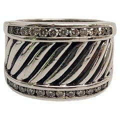 David Yurman Sterling Silver Diamond Cigar Cable Ring