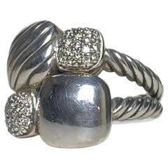 David Yurman Sterling Silver & Diamond Small Cushion Chiclet Ring sz 7
